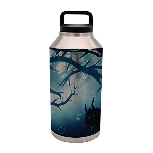 TecBillion Mystic House Decor Durable 64OZ Stainless Steel Bottle,Animal with Burning Eyes in Dark Forest at Night Horror Halloween Illustration for Home Travel Office,4