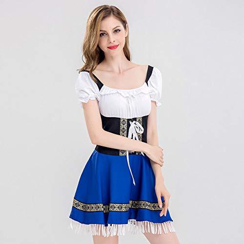 Blu impero shirt Stile Costume birra donna donna Tassel e Sera della lungo Blu Dirndl Da Vestito vestito Ragazza Bandage donna bavarese polo estivo T Oktoberfest top da g7nZWHWqIP