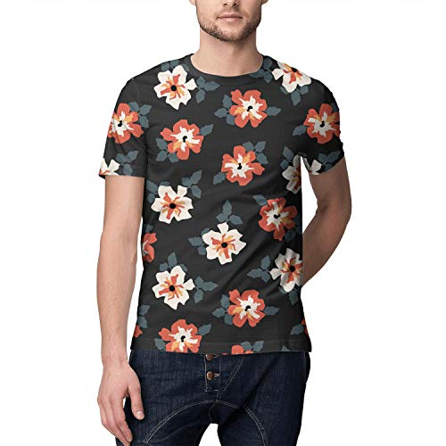 Tropical Floral Hawaiian Daisy Full Printed Short Sleeve Shirts Men ()
