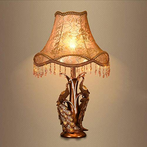 FMEZY Creative Peacock Table Lamp European Style Retro Desk Lamp Resin Bed Bedside Lights Living Room Decorative Lighting