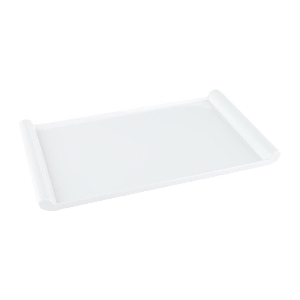 14'' Voga Melamine Japonais Rectangular Plate, Large, White - 10ct Box - Restaurantware