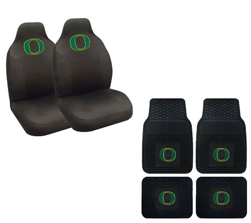 A set of 6 Piece Automotive Gift Set: 2 Front and 2 Rear All Weather Floor Mats and 2 Front Seat Covers - University of Oregon Ducks -
