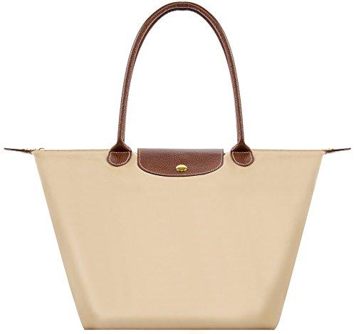 (BEKILOLE Women's Stylish Waterproof Tote Bag Nylon Travel Shoulder Beach Bags-Beige Color - Small Size)