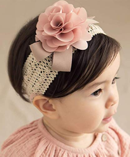 (Denifery Baby Girls Cute Headband Elastic Lace Hair Band Pink Flower Headband Hair)
