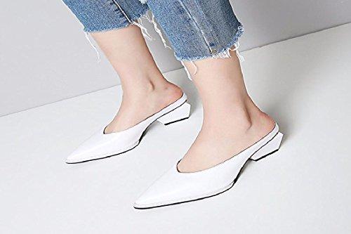 GTVERNH Sandales Cuir De Froid Pointu Chaussures Moitié Chaussures Paresseux Plat Remorque Lady pour white Chaussures Semi Femmes Pantoufles rqxIrZ7w