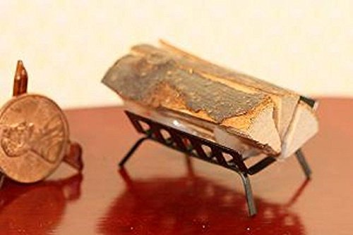 Miniature Fireplace (Dollhouse Miniature Filled Fireplace Log Holder in Black Metal)