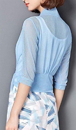 Ragazza Solidi Fashion Abbigliamento Estivi Cardigan Colori Eleganti Leggero Stola Manica Donna Mantella Casual Bolero Giacca Nodo Hellblau Sciolto Accogliente Al Lunga Ewqn6xT1x