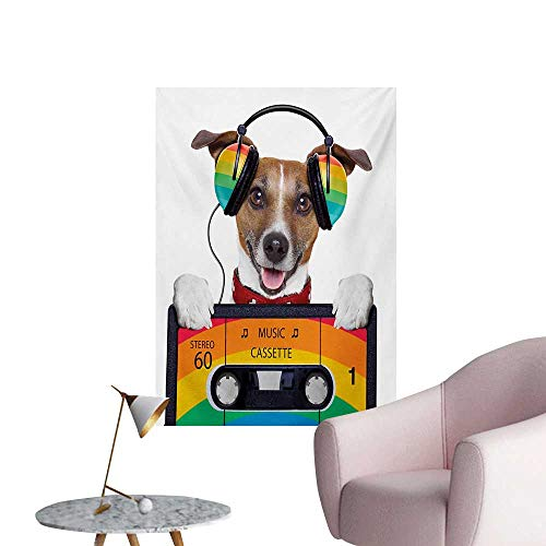 Anzhutwelve Popstar Party Photographic Wallpaper Dog Listening to Music from an Old Cassette of The 80s Colorful HeadphonesMulticolor W24 xL36 Poster Paper ()