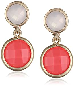 """Anne Klein """"Color Beacon"""" Gold Tone Coral Color Double Drop Clip-On Earrings"""