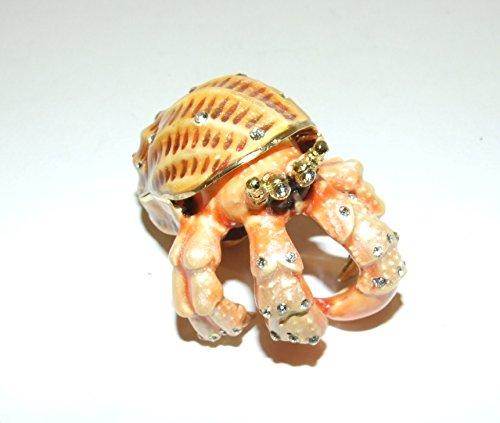 Hermit Crab Bejeweled & Enameled Trinket Box W/Austrian Crystals