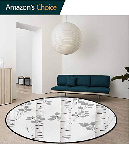 (RUGSMAT Birch Tree Modern Round Abstract Area Rug,Artistic White Branches with Leaves Autumn Nature Forest Inspired Image Print Non-Slip No-Shedding Kitchen Soft Floor Mat,Round-39 Inch)