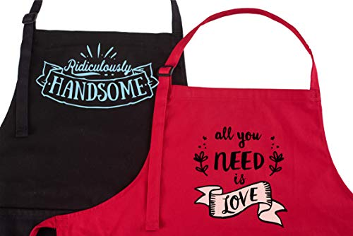 Mr Mrs Wedding Gifts for the Couple & Bridal Shower Gifts | Perfect for Couples Gifts | Engagements Gifts | Anniversary | His and Her Aprons | Valentines Day | Holidays | Funny Gifts | Christmas -