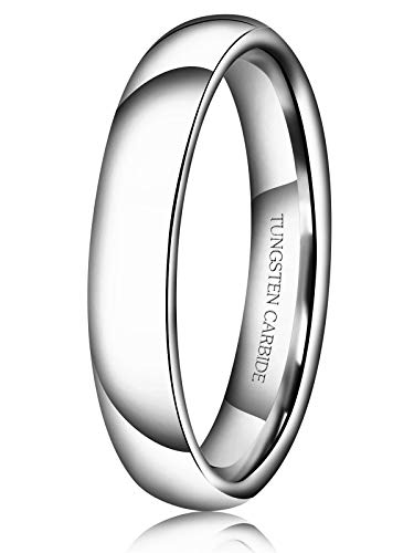 Just Lsy 4mm Tungsten Wedding Band Ring Men Women Plain Dome High Polished Comfort Fit Size 15