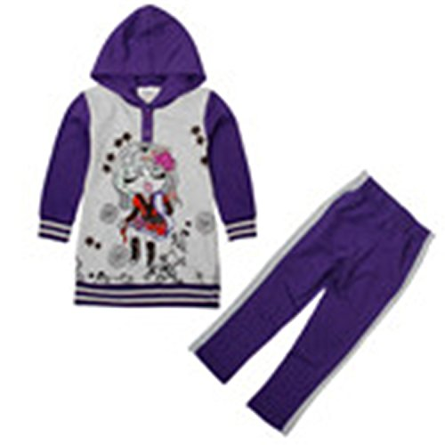 ODFAPP Adorable sports causal style gilr autumn/winter clothes sets prited fashion girl and patten girl coat sets high sale suits FG4646 GREY7T Cool