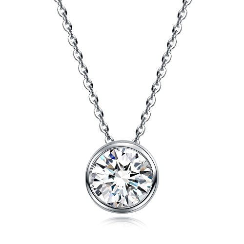 Bezel Stud Necklace (UMODE Jewelry Solitaire Bezel Set CZ Pendant Necklace With 1 Carat Round Cubic Zirconia 18 In)