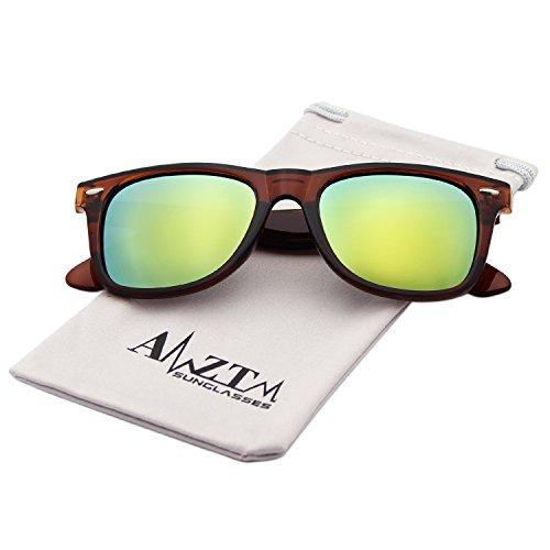 AMZTM Classic Square Retro Mirrored Lens Polarized Designer Wayfarer Sunglasses (Dark Brown Frame Orange Lens, - Sunglasses Orange Mirrored Wayfarer