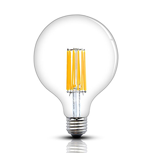 Bonlux 12W Dimmable G40 LED Edison Filament Bulb G125 Antique Globe Shape Long Filament Style Medium E26 Base Warm White 2700K 130W Incandescent Replacement Bulb for Pendant Chandelier Lantern Light