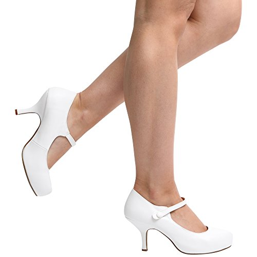 NEW WOMENS LADIES STRAP MID HEEL CASUAL SMART WORK PUMP COURT SHOES SIZE 3-8 White Leather Pu Q02XYkzHs