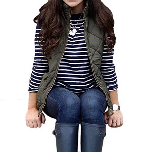 Femme Hiver Manche Jacken Sans Chaud Mode Manteau Loisir Gilet Blouson Spécial Automne Style Grün Uni Confortable Zip Manches Outerwear Matelassé Elégante Bobolily Quilting 1IEgwc