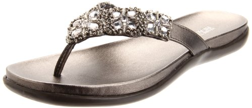 Kenneth Cole REACTION Women's Glam-athon Flat Sandal, Pewter, 9 M US