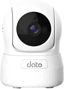 DATO Home Security Pet Camera - 1080P HD WiFi Baby Monitor, 2-Way Audio, Pan/Tilt/Zoom IP Camera with Motion Detection, Intercom System, Infrared Night Vision, Real Time App Alerts(C-S200,White)