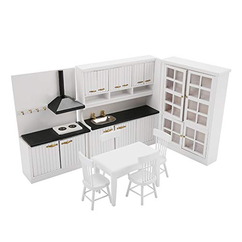 Zerone Play House Toy 1/12 Dollhouse Miniature Kitchen Dining Room Furniture Decoration Kit