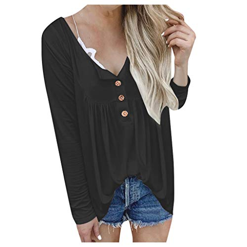 Loosebee◕‿◕ Womens Top,Autumn and Winter New Button Folds Solid Color Long-Sleeved T-Shirt