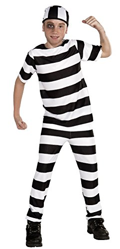 [Forum Novelties Striped Convict Costume, Child Medium] (Black And White Prisoner Costumes)