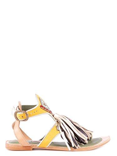 Cuero Sandalias 640320white Mujer Meher Kakalia amarillo Beige xqXRnHFg