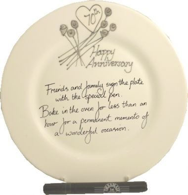 Anniversary Signature Plate (70th Wedding (Platinum) Anniversary Plate (Flower) (Rd))