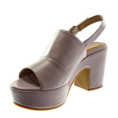 Angkorly Damen Schuhe Sandalen Mule - Knöchelriemen - Plateauschuhe - String Tanga - Schleife Blockabsatz High Heel 8.5 cm Lila