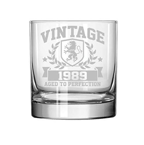 11 oz Rocks Whiskey Highball Glass Vintage Aged To Perfection 1989 30th Birthday