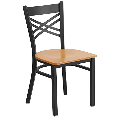 "Cheap Flash Furniture HERCULES Series Black ""X"" Back Metal Restaurant Chair – Natural Wood Seat"
