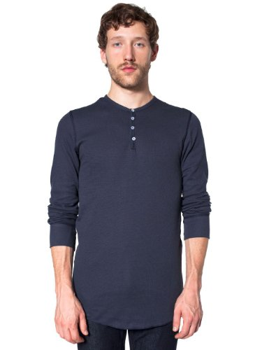 (American Apparel Men Baby Thermal Henley Long Sleeve T-Shirt Size L Navy)