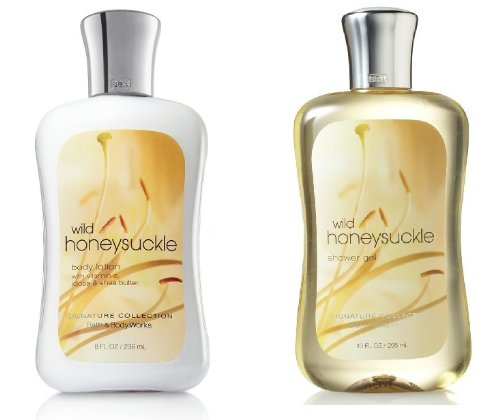 Bath and Body Works Signature Classics Pleasures Collection Body Lotion and Shower Gel Gift Set Men or Women (Wild Honeysuckle) (Pleasures Bath Gift)