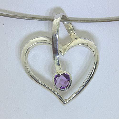 (Pendant Purple Amethyst Gemstone Handmade 925 Silver Ladies February Sweetheart )