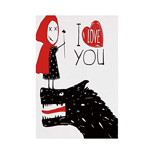 Polyester Garden Flag Outdoor Flag House Flag Banner,Quirky Decor,Little Red Riding Hood Loves Bad Horrible Wolf Plot Twist Fairytale Art,Red Black White,for Wedding Anniversary Home Outdoor Garden ()