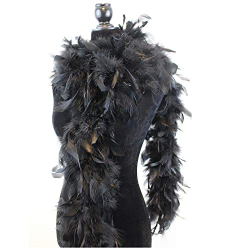 Ws&Wt 80g Turkey Chandelle Feather Boa for Girls Women Costume Accessory,Dress up Party Favors - Black