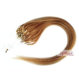 """18"""" Strawberry Blonde (#27) Micro Loop Ring Human Hair Extensions, 10 Strands"""