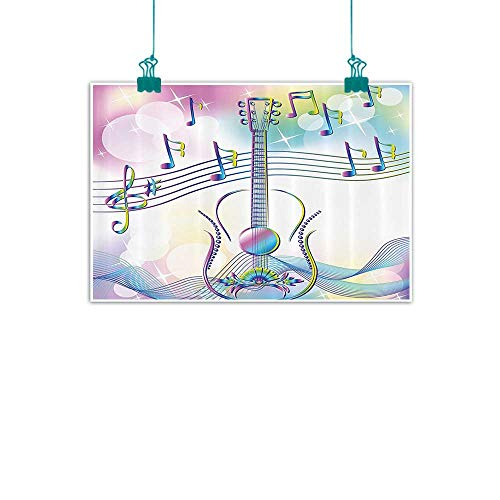 Music Decor Living Room Decorative Painting Abstract Image Backdrop with Guitar Notes Star Beam Like Design Modern Minimalist Atmosphere 35
