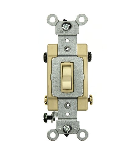 Leviton 54524-2I 20 Amp, 120/277 Volt, Toggle Framed 4-Way AC Quiet Switch, Commercial Grade, Grounding, Ivory