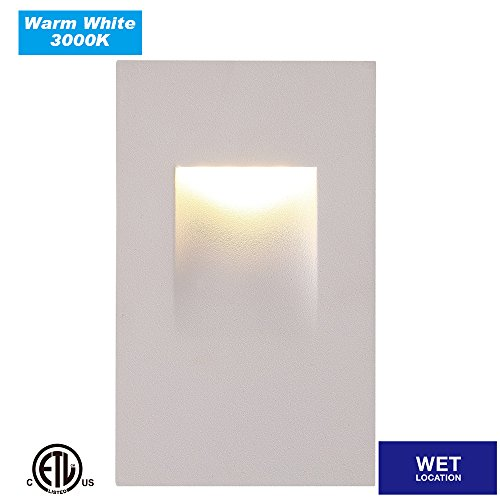 Cloudy Bay CBST004830WH LED Outdoor/Indoor Step Light,vertical,3000K Warm White 3W,Stairway Stair Light,ETL Certified,White Finish