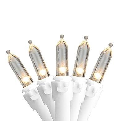 "Set of 100 Warm White LED Mini Christmas Lights 4"" Spacing - White Wire"