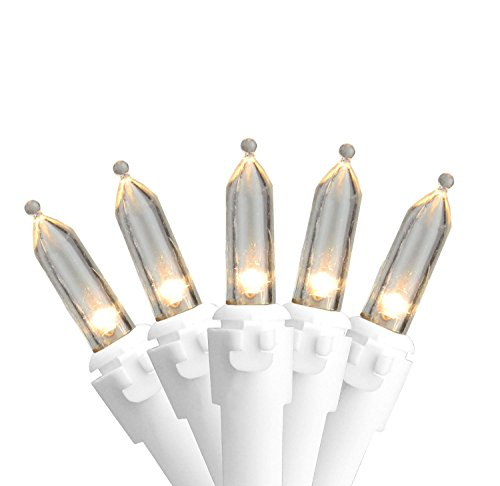 "Northlight Set of 50 Warm White LED Mini Christmas Lights 4"" Spacing - White Wire"