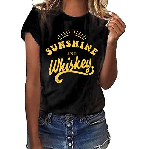 Women T-Shirt Casual Summer Short Sleeve Tee Letter Print Loose Blouse Tops (XL, Black)