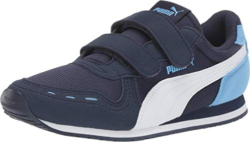 PUMA Kid's Cabana Racer Velcro Shoe, Peacoat-puma White-Little boy Blue, 3.5 M US Big Kid