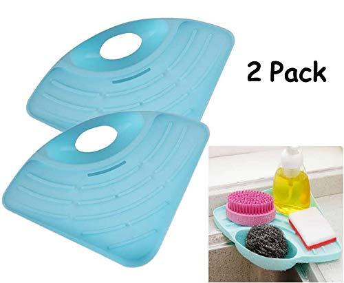 Pack of 2 Kitchen Sink Caddy Sponge Scratcher Cleaning Brush Holder Sink Organizer (Blue)
