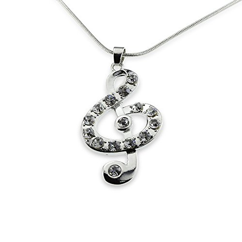 Silver Music Note Treble Clef Pendant Mood Necklace Jewelry Best Christmas Gift for Teen Girl Women