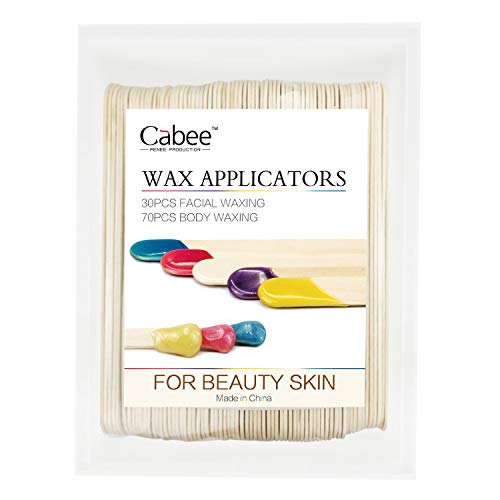 Wax Applicator Sticks,70 Large and 30 Small Wooden Waxing Applicator Sticks for Face Eyebrows Lip Hand Hair Removal