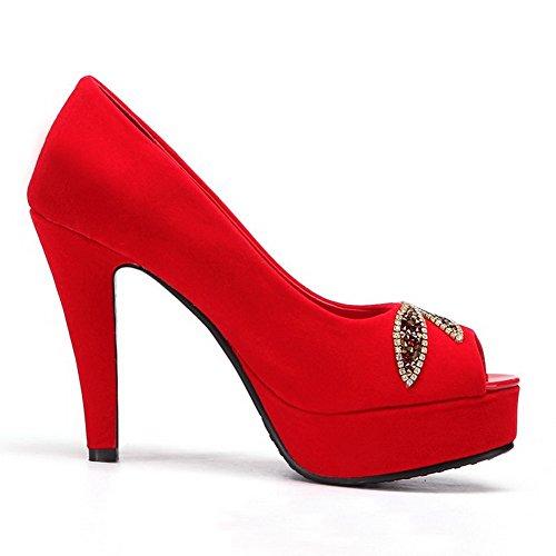 hauts ouvert VogueZone009 Plateforme à rouge avec talons et souple verre aiguilles daim diamant talons femmes à bout pour matériau matériau souple xB8q8ASwt
